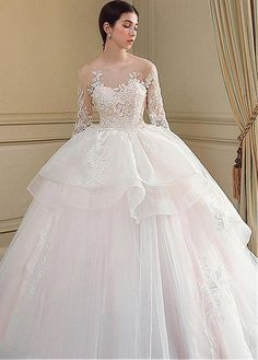 7a6c754363a Tulle Jewel Long Sleeve Appliques Ball Gown Wedding Dress. White StyleLace  AppliqueBridal ...