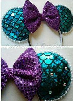 The Little Mermaid Mickey Mouse Ears Diy Disney Ears, Disney Mickey Ears, Disney Bows, Disney Diy, Disney Crafts, Disney Outfits, Disney Cruise, Disney Trips, Disney Headbands