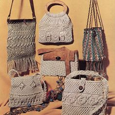 Macrame Purses. I have this book. I made the upper left purse in the 70's. Wish I still had it. Going to make another one.