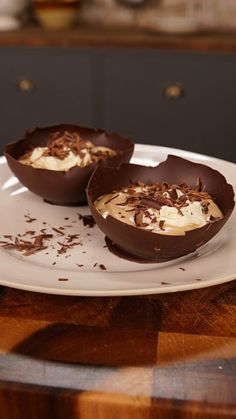 This rich and smooth coffee mousse comes served in an edible chocolate bowl.