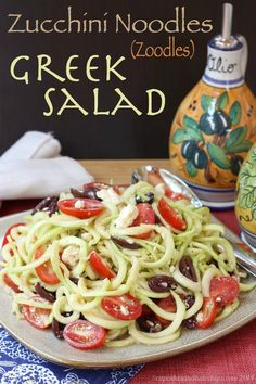 Love the idea of making noodles out of Zucchini! Zucchini Noodles Greek Salad - light and healthy Mediterranean zoodles for a light vegetarian (and gluten free) meal, or vegetable side dish. Zoodle Recipes, Spiralizer Recipes, Veggie Recipes, Low Carb Recipes, Cooking Recipes, Healthy Recipes, Veggie Noodles, Potato Noodles, Greek Salad