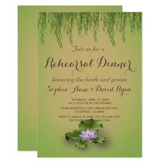 Lotus Flower Greenery Rehearsal Dinner Invitation
