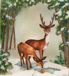 Old-fashioned hierarchy jumble and figure out discover the fashionable about vintage. Vintage Christmas Images, Christmas Scenes, Christmas Deer, Christmas Animals, Retro Christmas, Vintage Holiday, Christmas Pictures, Xmas, Vintage Greeting Cards