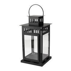 BORRBY Lantern for block candle, black - IKEA