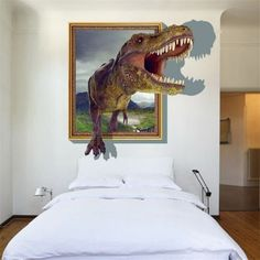 3D Dinosaur Style Removable Wall Stickers Colorful Room Window Decoration for Bedroom Store - color size