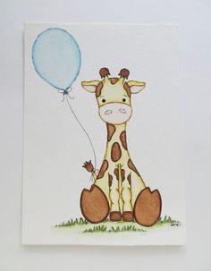 Giraffe and Balloon Watercolor painting nursery от Waterblooms