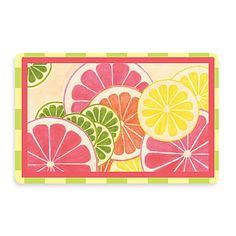 You'll smile and feel refreshed every time you see this go-anywhere, fruit-filled mat. It'll provide a decorative touch as well as a no-slip spot, and cushioning for wet, tired or cold feet.