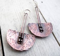 Hammered Pendulum Earrings by LostSparrowJewelry