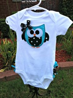 Ruffled Bottom Owl Applique Onesie by BetterThanBows on Etsy, $24.95