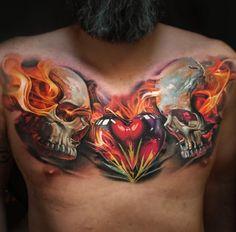 Flaming Skulls & Heart
