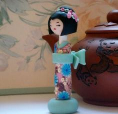 Japanese Doll  Sculpture Doll Shabby Chic Light  by efiwarsh, $36.00