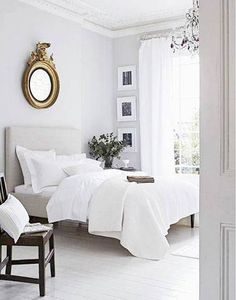 bedroom decorating ideas for couples white bedroom with mirror over bed - Elder White by Sherwin Williams