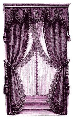 Vintage Clip Art - Fancy Victorian Curtains -Draperies