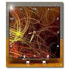 Yellow and Orange Lights Scribbled on a Canvas Desk Clock