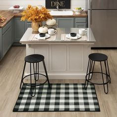Chic and classic, the Black Buffalo Check Mat adds timeless plaid style in a neutral autumn inspired color palette that's perfect for the fall season and beyond. #halloweendecor #halloweendoormat #fall #falldecor #doormat #pumpkinspice #kitchendecor #coffee #lowes #homedecor #pumpkins #autumn #homedecor #arearugs #mohawkhome #mohawk #plaid Fall Home Decor, Home, Kitchen Remodel, Kitchen Decor, House Styles, Kitchen Accents, Kitchen, Mohawk Home, Kitchen Mat