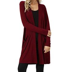 19b9f4011d3d Plus Size Cardigan,Womens Autumn Solid Long Coat Loose Outwear Pockets ? Plus  Size Cardigan,Womens Autumn Solid Long Coat Loose Outwear Pockets from the  ...