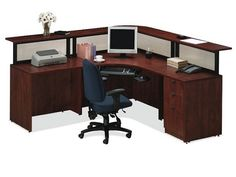 Deluxe Reception L-Shaped Desk Suite by NDI Office Furniture , 82042 School Furniture, Home Office Furniture, Cheap Furniture, Kitchen Furniture, Rustic Furniture, Modern Reception Desk, Office Reception, Reception Counter, Law Office Decor