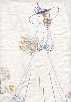 Vintage Embroidery Patterns | Embroidery Patterns Vintage Belle Flapper Lady Pillow Quilt Designs ...