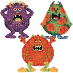 Mill Hill® Little Monsters Trilogy Set Counted Cross-Stitch Kit - Herrschners #beads
