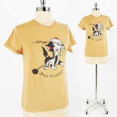 ED HARDY by CHRISTIAN AUDIGIER brown BAD PUSSY CAT TATTOO ART logo t-shirt top S $24.99