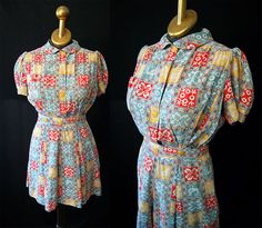 Rare 1940's cotton novelty print playsuit with by wearitagain, $198.00