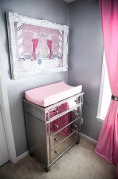 "Pink and gray ""glam"" mirrored dresser/changing table"