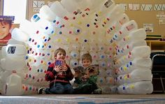 Recycle milk jugs to make this incredible igloo...I'm going to need one of these in my apartment