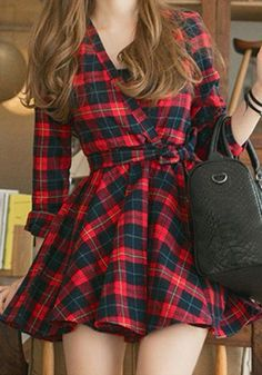 Red Plaid Print Belt Lace-Up V-neck Long Sleeve A Line Casual Mini Dress
