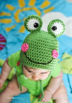 This frog hat by Repeat Crafter Me is made with Vanna's Choice.  Check out the free pattern here!