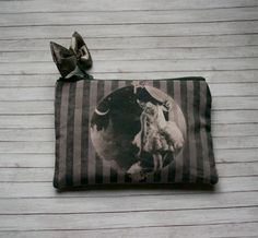 Dream Theatre Pouch - Lined Zip Zipper Purse - Vintage Burlesque in Gunmetal Grey -Unique Handmade in USA Moth & Rust
