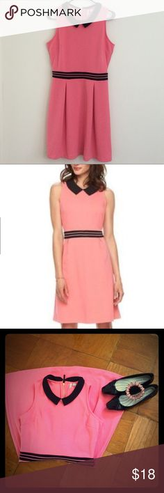 Elle Pleated Fit and Flare Dress, Tea Rose, S Color is more similar to the first picture.       Knee length.                                                    worn once.                                                          back zipper with hook and eye closure.       made of polyester, rayon, and spandex Elle Dresses