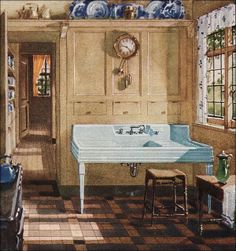 Strangers & Pilgrims on Earth: Vintage Kitchens ~ Spring/Fall Cleaning Inspiration 1920s Kitchen, Vintage Kitchen, Kitchen Sink, Kitchen Layout, Kitchen Maker, Kitchen Ideas, Pine Kitchen, Kitchen Cabinets, French Kitchen