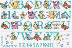 Cross stitch letters with drawings