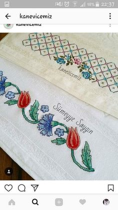 Cross Stitch Borders, Machine Embroidery, Outdoor Blanket, Diy Crafts, My Favorite Things, Cross Stitch Embroidery, Towels, Scrappy Quilts, Flower Chart