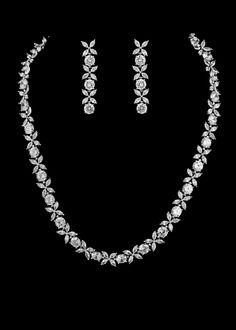 Stunning CZ Necklace, Bracelet and Drop Earring Bridal Jewelry Set. Diamond Necklace Set, Gold Diamond Earrings, Silver Earrings, Silver Bracelets, Earrings Uk, Silver Pendant Necklace, Diamond Jewelry, Silver Jewellery Indian, Silver Jewelry