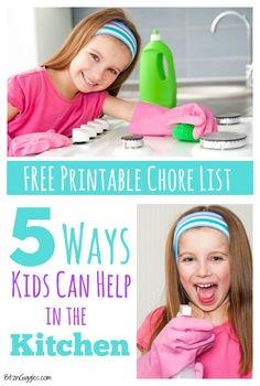 5 Ways Kids Can Help in the Kitchen with FREE printable chore list!