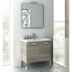 Buy the Nameeks ACF Canapa Larch Canapa Direct. Shop for the Nameeks ACF Canapa Larch Canapa ACF Floor Standing Vanity Set with Wood Cabinet, Ceramic Top with 1 Sink and 1 Mirror and save. 20 Inch Bathroom Vanity, Home Depot Bathroom Vanity, Reclaimed Wood Bathroom Vanity, Floating Bathroom Vanities, Bathroom Vanity Drawers, Glamorous Bathroom, Ikea Vanity, Bathroom Vanity Designs, Small Bathroom Vanities