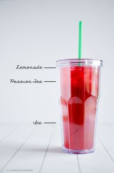 Make Your Own Passion Tea Lemonade - - Did you know that Starbucks is no longer serving the Passion Tea Lemonade? It's so disappointing. They've replaced it with a Passion Tango Tea Lemonade, but I haven't had a chance to try. Fruit Drinks, Smoothie Drinks, Non Alcoholic Drinks, Cold Drinks, Healthy Drinks, Smoothie Recipes, Beverages, Cocktails, Smoothie Bowl