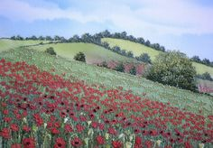 Poppy Field, thread painting by Gouri Joshi, on air brushed silk. Machine Embroidery Quilts, Freehand Machine Embroidery, Free Motion Embroidery, Creative Embroidery, Modern Embroidery, Embroidery Art, Landscape Quilts, Landscape Art, Fabric Postcards