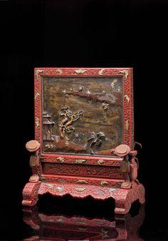 Rare et bel écran de lettré rectangulaire, Période Qianlong (1736-1795)