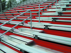 Add some pop to aluminum bleachers with powder-coated colors.