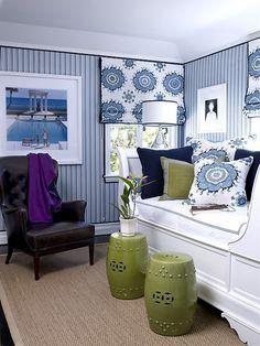 Inspírate con esta decoración en tonos azules y verde olivo