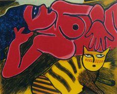 Corneille, Chat jaune tigre. | kunstuitleen-online.nl