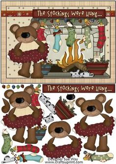 Bears Christmas Stockings Card Front and Decoupage
