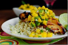 Key West Grilled Chicken with Cilantro-Lime Cauliflower Rice is light, healthy, and full of fresh flavors  #glutenfree | iowagirleats.com