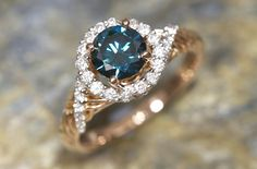 Blue diamond ring,Rose gold Rose Gold Diamond Ring, Sapphire, Jewelry Making, Rings, How To Make, Blue, Ring, Jewelry Rings, Jewellery Making