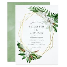 Shop Watercolor Tropical Greenery Geometric Wedding Magnetic Invitation created by partypeeps. Personalize it with photos & text or purchase as is! Magnolia Wedding, Magnolia Flower, Sip And See Invitations, Baby Shower Invitations, Digital Invitations, Quinceanera Invitations, Wedding Invitations, Invites, Wedding Stationery