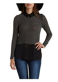 Layered Long Sleeve Button-Up Top