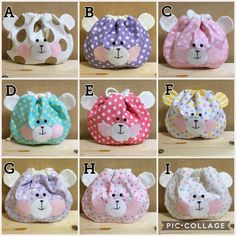 Fabric Crafts, Sewing Crafts, Sewing Projects, Diy Pouch No Zipper, Animal Bag, Felt Gifts, Cute Polymer Clay, Patchwork Bags, Candy Bags