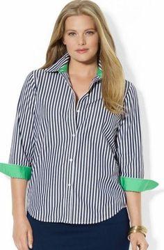 Lauren Ralph Lauren Contrast Trim Cotton Shirt (Plus Size) Cotton Blouses, Shirt Blouses, Blouses For Women, Shirt Style, Long Sleeve Shirts, Plus Size, Outfits, Clothes, Humidifiers